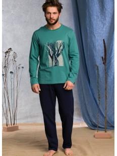 Брючная мужская пижама из хлопка с зеленым принтованным лонгсливом