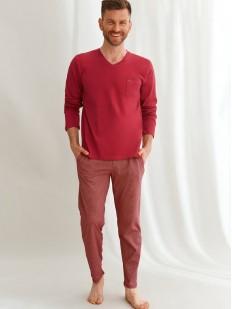 Хлопковая мужская пижама с брюками в горошек