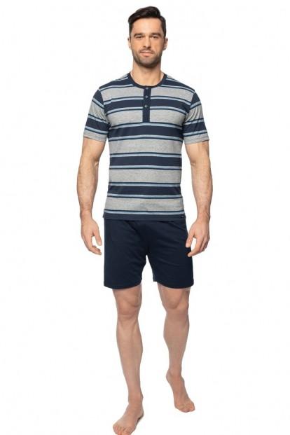 Мужская хлопковая пижама с футболкой в полоску и шортами Rossli PY-144 - фото 1