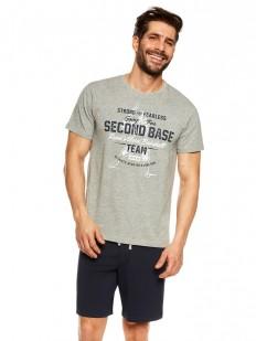 Летняя мужская пижама с шортами на завязках и футболкой из хлопка