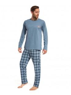 Трикотажная мужская пижама из хлопка с брюками в клетку
