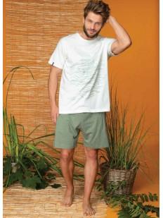 Мужская летняя пижама из хлопка с зелеными шортами