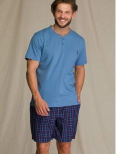 Хлопковая летняя мужская пижама с шортами в клетку и футболкой на пуговицах