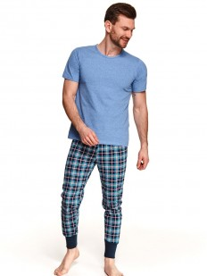 Хлопковая мужская пижама со штанами в клетку и однотонной футболкой