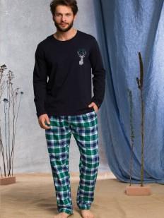 Мужская пижама хб с зелеными фланелевыми брюками в клетку и принтом в виде оленя