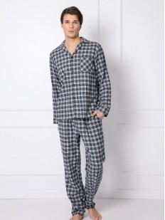 Клетчатая мужская пижама из хлопка: брюки и рубашка