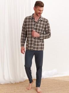 Мужская хлопковая пижама с фланелевой рубашкой на пуговицах