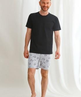 Хлопковая мужская пижама: черная футболка и шорты с зебрами