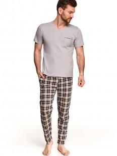 Хлопковая мужская пижама - однотонная футболка и брюки в клетку