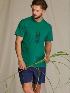 Летняя мужская пижама с шортами и зеленой футболкой с принтом жука