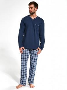Синяя мужская пижама из хлопка с брюками в клетку и кофтой с длинным рукавом