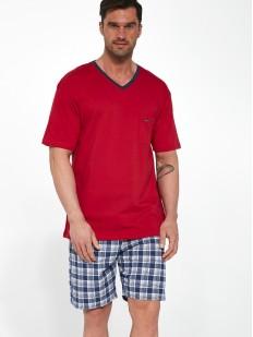 Хлопковая мужская пижама с шортами в клетку и однотонной футболкой