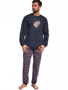 Хлопковая мужская рождественская пижама с оленем и брюками в клетку