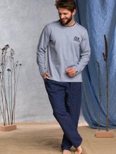 Мужская хлопковая пижама с фланелевыми брюками в клетку