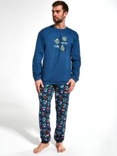 Синяя хлопковая мужская пижама со штанами и принтом кубик рубик