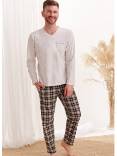 Хлопковая мужская пижама с фланелевыми брюками в клетку