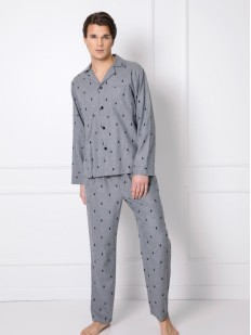 Мужской пижамный комплект: брюки и рубашка из хлопка с принтом