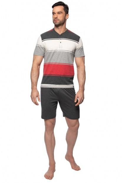 Мужская хлопковая пижама с футболкой в полоску и шортами Rossli PY-147 - фото 1