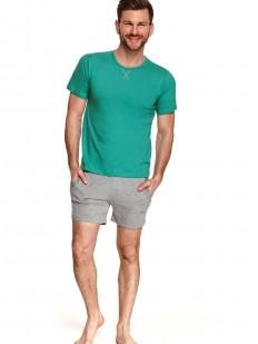 Летняя мужская пижама: однотонная хлопковая футболка и шорты с карманами