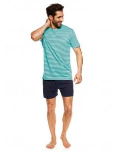 Летняя мужская пижама с шортами и голубой футболкой в полоску