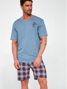 Летняя мужская пижама с клетчатыми шортами и голубой футболкой