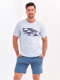 Мужская хлопковая летняя пижама с шортами и футболкой с принтом