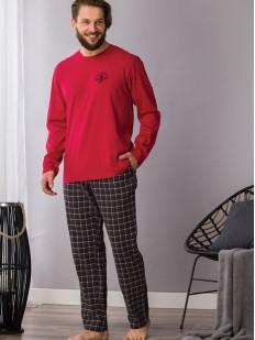 Хлопковая мужская пижама с фланелевыми штанами и красной кофтой