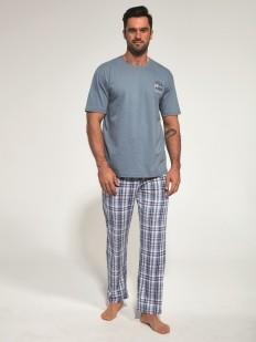 Хлопковая мужская домашная пижама с брюками в клетку