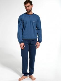 Синяя брючная мужская пижама из хлопка с кофтой лонгслив