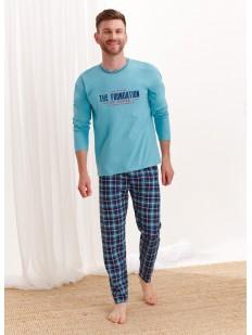 Хлопковая мужская пижама с фланелевыми штанами в клетку