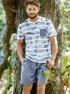 Летняя мужская пижама хб с шортами и футболкой в полоску