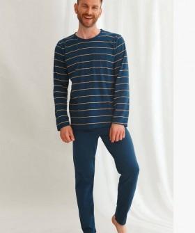 Мужской пижамный комплект: хлопковые штаны и кофта в полоску