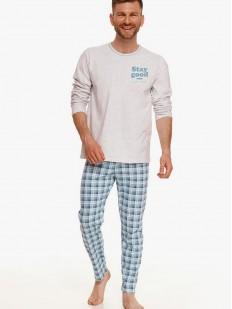 Хлопковая мужская пижама с клетчатыми брюками и лонгсливом