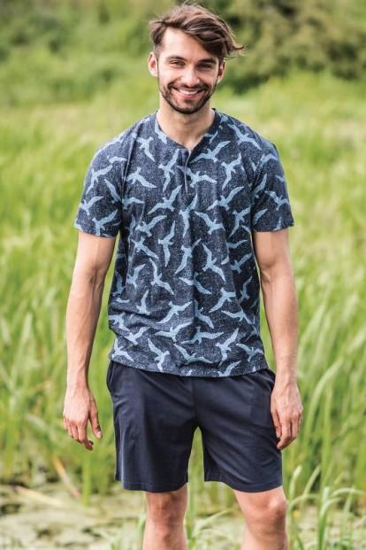 Мужской домашний хлопковый комплект с шортами KEY MNS 741 19  - фото 1