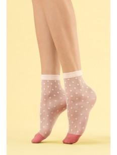 Кремовые капроновые женские носки в ванильный горошек 8 den
