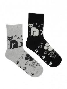 Высокие теплые женские носки с котиками и сердечками