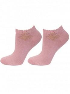 Короткие женские носки с золотистым люрексом в форме мухи