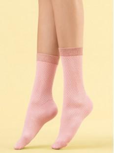 Высокие капроновые женские носки нежно-розового оттенка 60 den