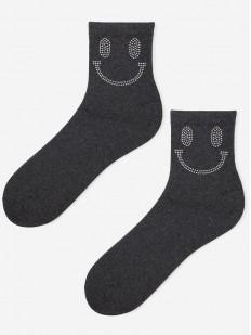 Женские носки с серебристыми смайликами