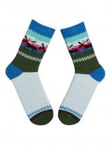 Высокие теплые женские носки с оленями и цветным рисунком
