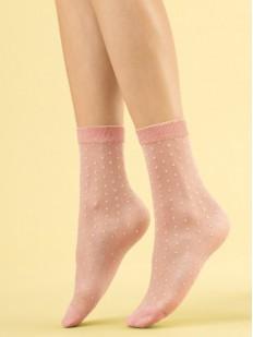 Высокие капроновые женские носки в горошек пастельных тонов 20 den