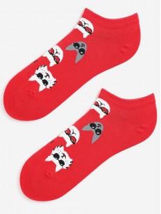 Короткие цветные женские носки с модными котиками