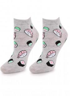 Укороченные женские носки из хлопка с рисунком суши