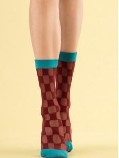 Стильные женские носки в терракотовую шахматную клетку 20 den