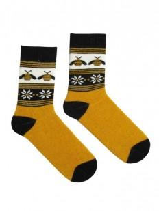Высокие теплые женские носки медового цвета с пчелками