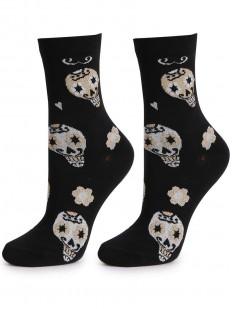 Черные хлопковые женские носки с мультяшными черепами
