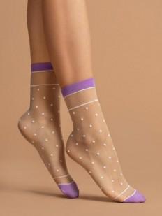 Модные капроновые женские носки в горошек с сиреневыми вставками 15 den
