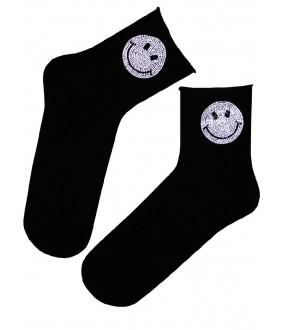 Хлопковые женские носки с блестящими смайликами