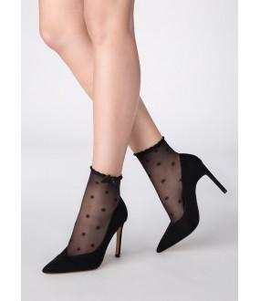 Капроновые женские носки в горошек с бантиками