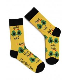 Желтые хлопковые мужские носки с принтом влюбленных авокадо